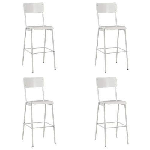 Vidaxl Barové židle 4 ks bílé masivní překližka a ocel