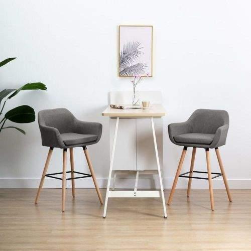 Vidaxl Barová židle s područkami tmavě šedá textil