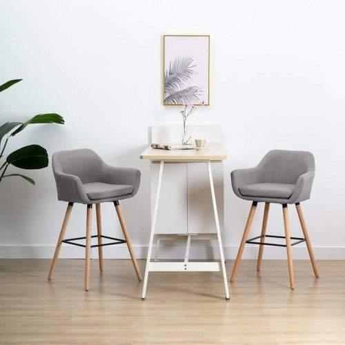 Vidaxl Barová židle s područkami světle šedá textil