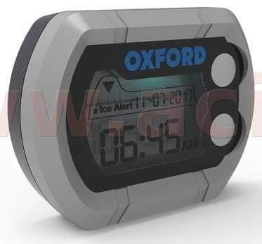 Oxford hodiny a teploměr na motocykl voděodolné, OXFORD - Anglie (stříbrná) OX562