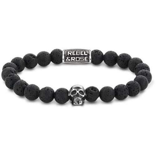 Rebel & Rose Korálkový náramek Skull Black Moon RR-SK001-S (Průměr 17,5 cm - M)