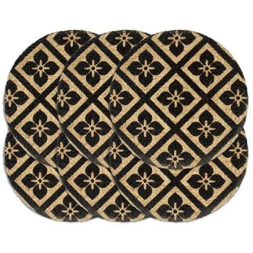 shumee Prostírání 6 ks černé 38 cm kulaté juta