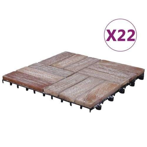 shumee Terasové dlaždice 22 ks 30 x 30 cm masivní recyklované dřevo