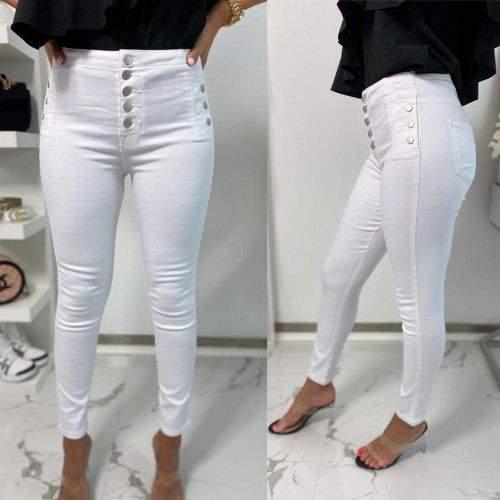 Milujtemodu TOP bílé džíny s vysokým pasem Velikosti oblečení: S, Barva aktualni: Bílá