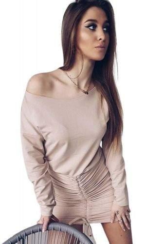 Milujtemodu Super šaty Mili -béžová Velikosti oblečení: M/L, Barva aktualni: Béžová