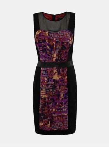 s.Oliver fialovo-černé pouzdrové šaty XS