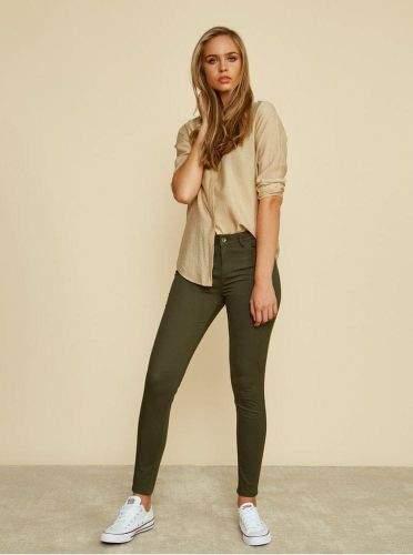 ZOOT Baseline khaki dámské slim fit kalhoty Anna S