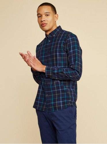ZOOT Baseline tmavě modrá pánská kostkovaná košile Aiden S