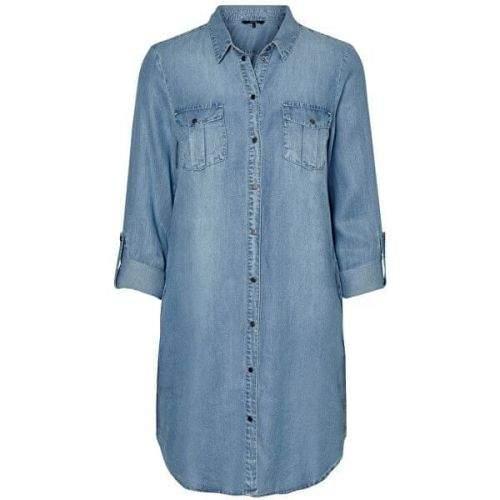 Vero Moda Dámské šaty VMSILLA 10184172 Light Blue Denim (Velikost M)