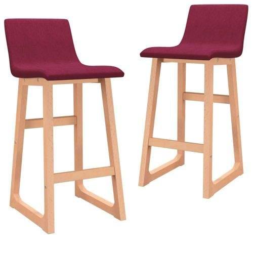 shumee Barové židle 2 ks vínové textil