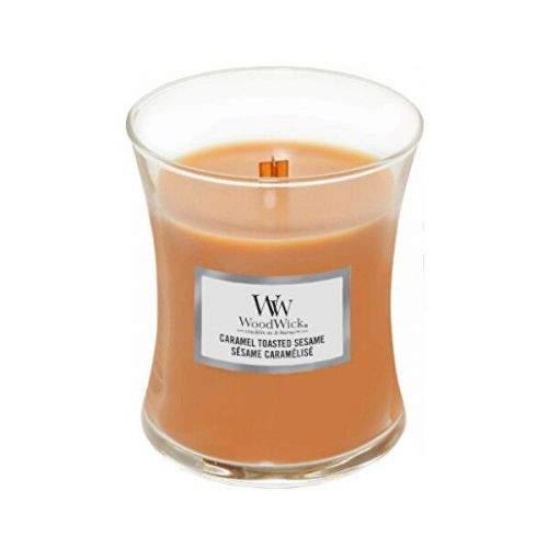 Woodwick Vonná svíčka váza malá Caramel Toasted Sesame 85 g
