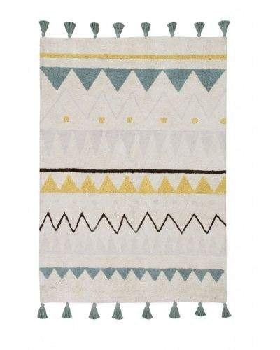 Lorena Canals AKCE: 140x200 cm Ručně tkaný kusový koberec Azteca Natural-Vintage Blue 140x200
