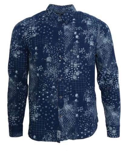 Pepe Jeans Modrá květovaná košile Pepe Jeans Modrá M, Rukáv: Krátký