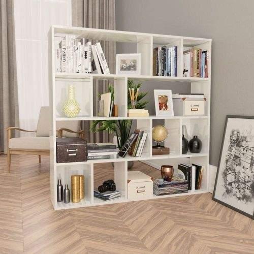 shumee Zástěna/knihovna bílá vysoký lesk 110 x 24 x 110 cm dřevotříska