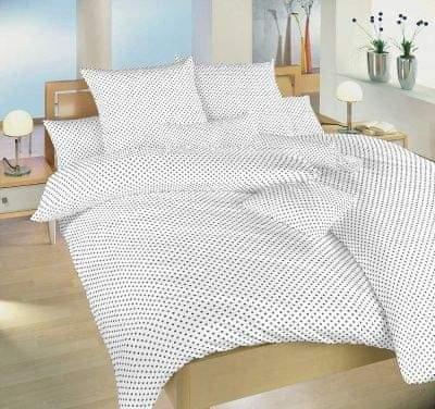 Dadka Povlečení bavlna Puntík šedý na bílém 140x200, 70x90 cm