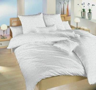 Dadka Povlečení bavlna Hvězdička šedá na bílém 140x200, 70x90 cm