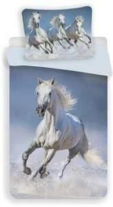 Jerry Fabrics Povlečení fototisk Horses white 140x200, 70x90 cm
