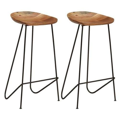 shumee Barové stoličky 2 ks masivní akáciové dřevo