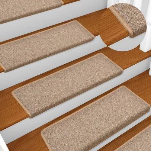 shumee Kobercové nášlapy na schody 15 ks 65 x 25 cm světle hnědé