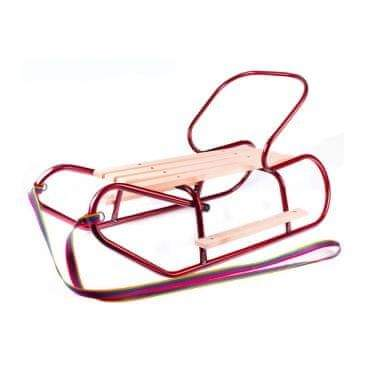 Carero Kovové sáňky s opěradlem a opěrkami na nohy BAYO červené