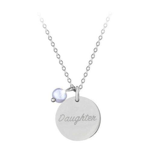 Troli Něžný ocelový náhrdelník s přívěskem a perlou Daughter