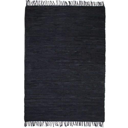 shumee Ručně tkaný koberec Chindi kůže 120 x 170 cm černý