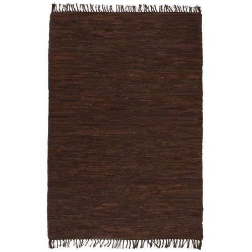shumee Ručně tkaný koberec Chindi kůže 190 x 280 cm hnědý