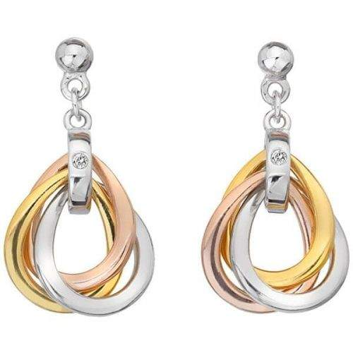 Hot Diamonds Tricolor náušnice ze stříbra s diamanty Trio DE645