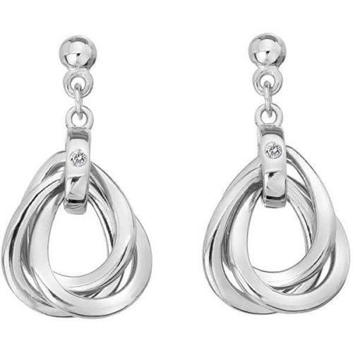 Hot Diamonds Úžasné stříbrné náušnice s diamanty Trio DE644