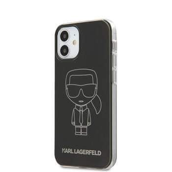 Karl Lagerfeld KLHCP12SPCUMIKBK Karl Lagerfeld PC/TPU Metallic Iconic Outline Kryt pro iPhone 12 mini 5.4 Black