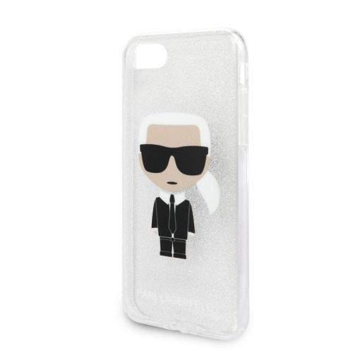 Karl Lagerfeld KLHCI8TPUTRIKSL Karl Lagerfeld Glitter Ikonic Kryt pro iPhone 8/SE2020 Silver