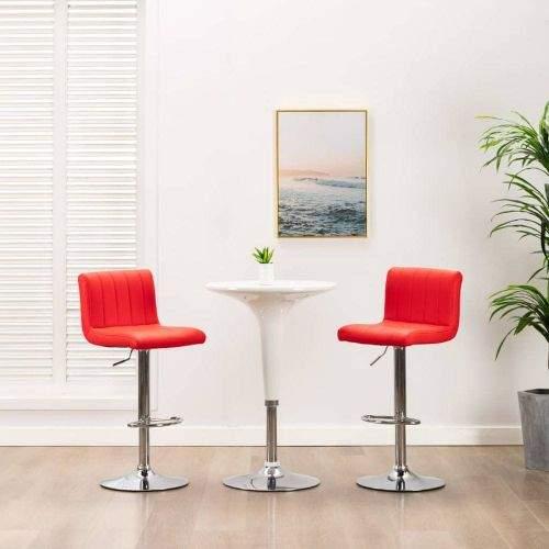 shumee Barová stolička červená umělá kůže