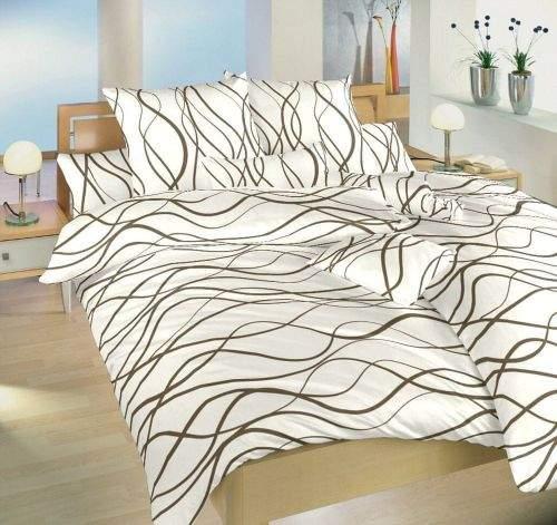 Dadka Povlečení bavlna Vlny hnědé 140x200, 70x90 cm