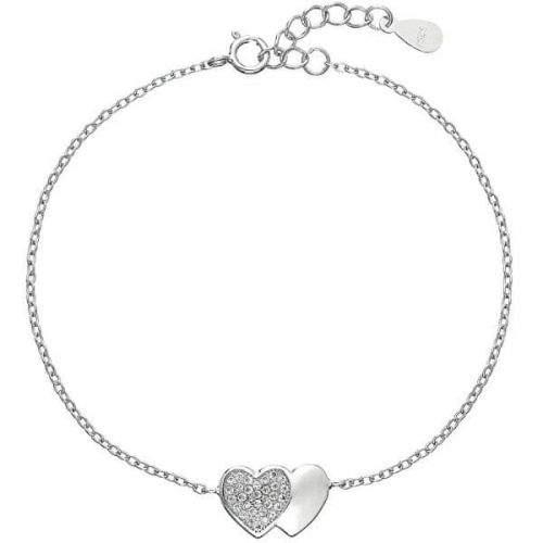 Evolution Group Romantický stříbrný náramek Spojená srdce se zirkony 13010.1