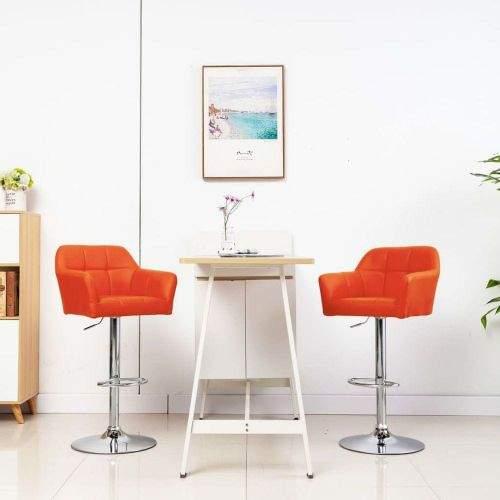 shumee Barové židle s područkami 2 ks oranžové umělá kůže