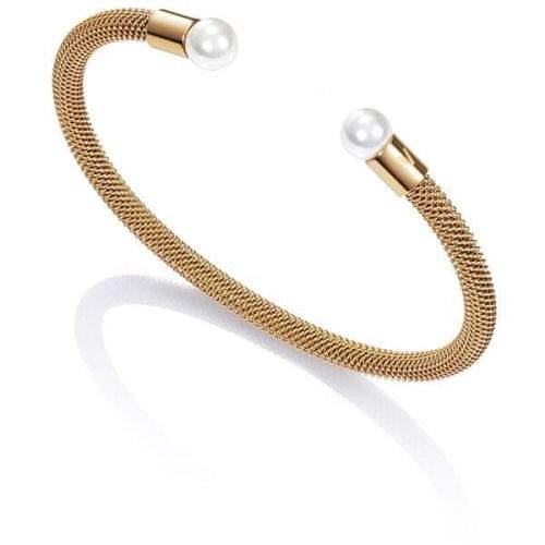 Viceroy Pozlacený otevřený náramek s perlami Chic 75047P01012