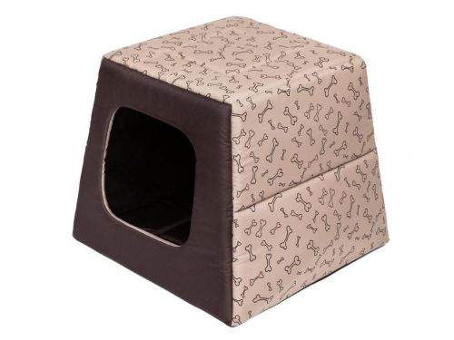 HobbyDog Pelíšek pro psa Pyramida - béžová a kosti Velikost: R1 - 37 x 37 x 19/34