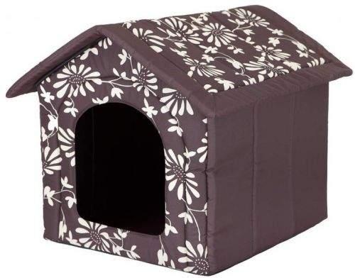 HobbyDog Pelíšek pro psa Bouda - hnědá a květy Velikost: R1 - 38 x 32 x 38 cm