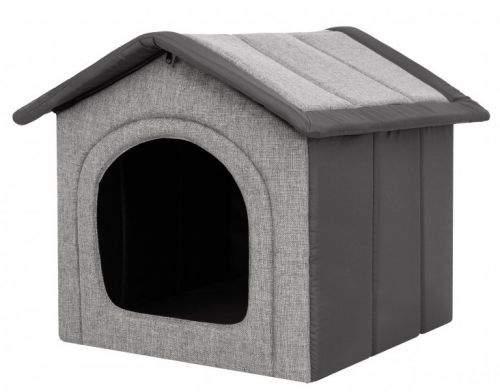 HobbyDog Látková bouda pro psa - světle šedá s šedou Velikost: R1 - 38 x 32 x 38 cm
