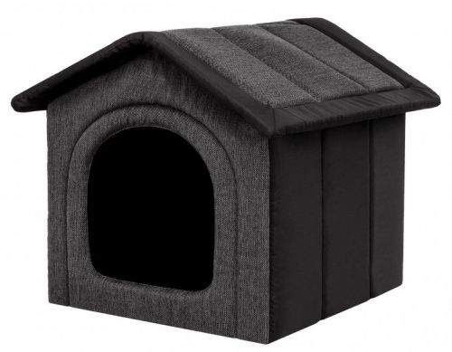 HobbyDog Látková bouda pro psa - grafitová s černou Velikost: R1 - 38 x 32 x 38 cm