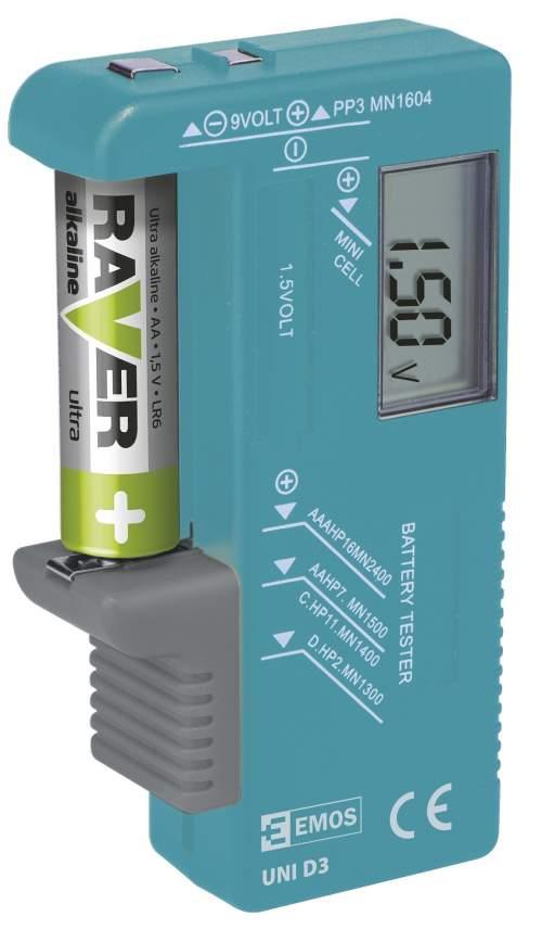 Emos N0322 tester baterií (AA, AAA, C, D, 9V, knoflíkových)
