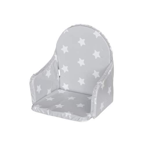 NEW BABY Vložka do dřevěných jídelních židliček Victory šedá hvězdičky bílé 40493